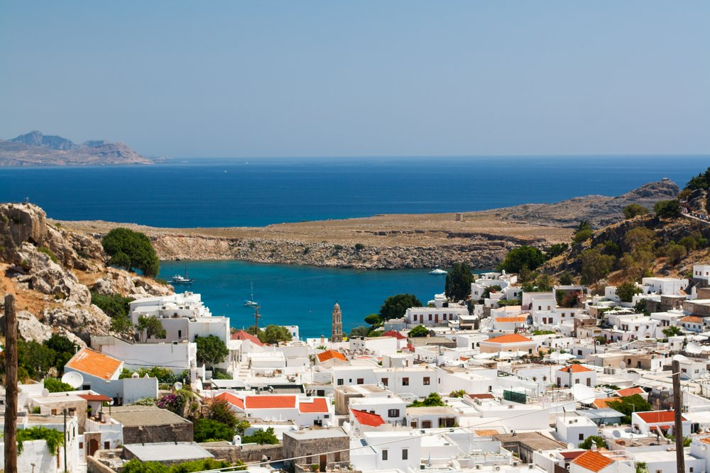 View of Lindos Bay, Rhodes, Greece