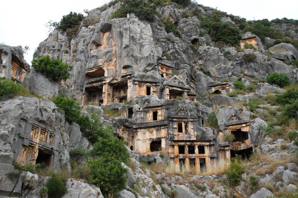 Antique tombs in Myra town
